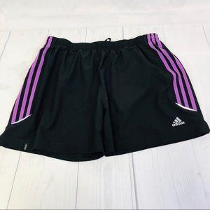 Women's Adidas Climate Black Shorts/Purple Stripes